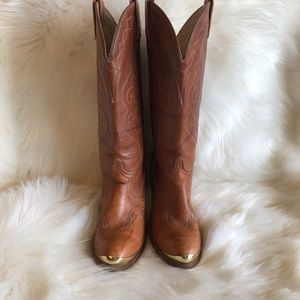Acme Rich Camel Embroidered Cowboy Boots